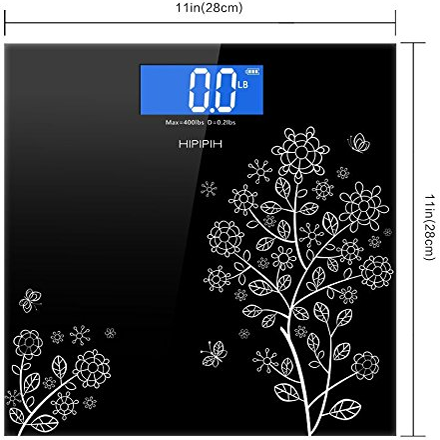 Step and Read Black Hippih Electronic Bathroom Scale Dimension